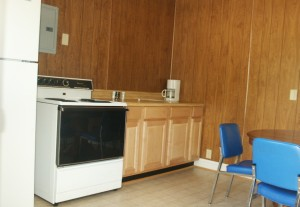 Cabin 1 has a range and refrigerator as well as plenty of counter space.
